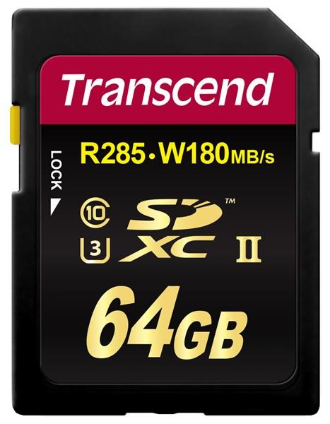 TRANSCEND SDXC Class 3 UHS-II SD2U3, 64GB (R285, W180 MB/s)