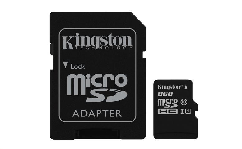 Kingston 8GB Micro SecureDigital (SDHC UHS-I) Card, Class 10 + SD adaptér