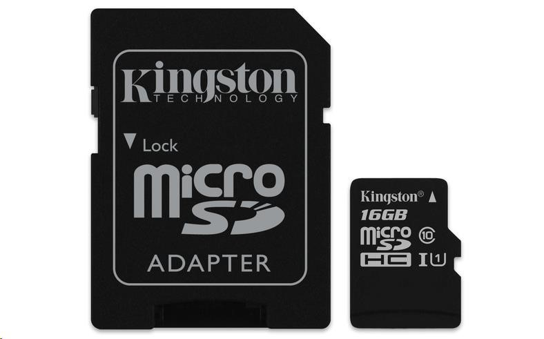 Kingston 16GB Micro SecureDigital (SDHC UHS-I) Card, Class 10 + SD adaptér