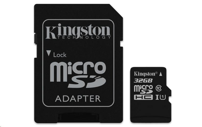 Kingston 32GB Micro SecureDigital (SDHC UHS-I) Card, Class 10 + SD adaptér