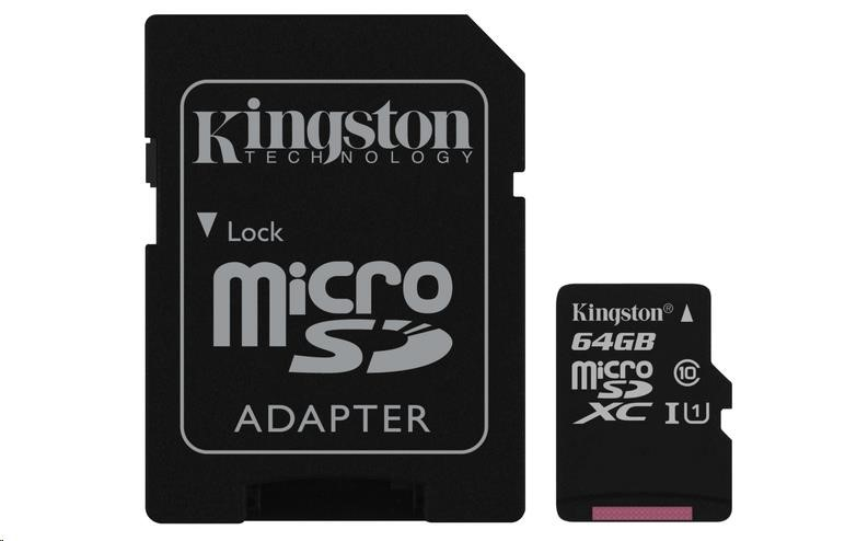 Kingston 64GB Micro SecureDigital (SDXC UHS-I) Card, Class 10 + SD adaptér