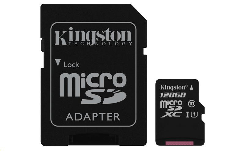 Kingston 128GB Micro SecureDigital SDXC UHS-I Card, Class 10 + SD adaptér