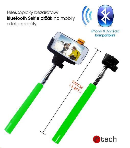 C-TECH teleskopiský selfie bluetooth držák, zelený