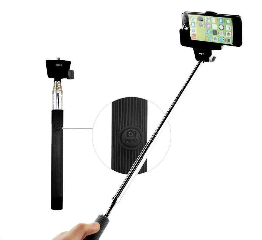 C-TECH teleskopiský selfie bluetooth držák, černý