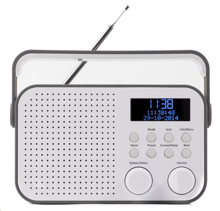 AKAI ADB20GY Přenosné DAB+ rádio s budíkem, FM autoscan a AUX in