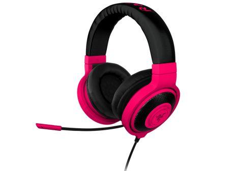 RAZER sluchátka s mikrofonem KRAKEN PRO Neon Red Analog Gaming Headset, červená