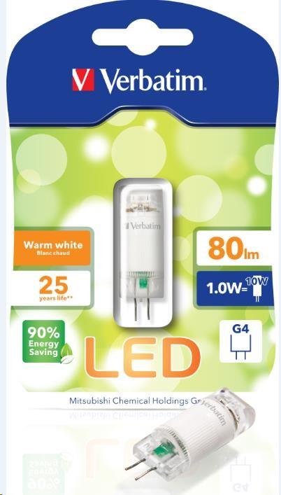 VERBATIM LED žárovka,LED BI Pin G4 1.0W 12V AC/DC 2700K WW 80LM