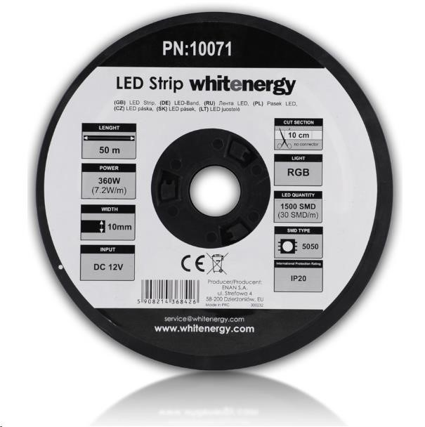 Whitenergy LED pásek (50m, 7.2W/m, IP20, 10mm, RGB)