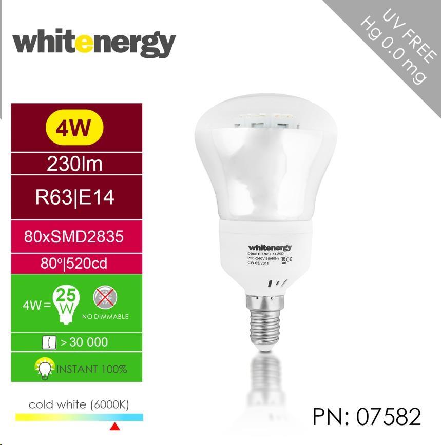 Whitenergy LED žárovka (E14, 4W, 230 lm, studená bílá)