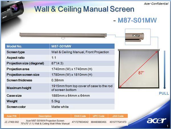 "ACER Projekční plátno M87-S01MW, 70x70"" Wall & Ceiling Matt White, Manual Projection Screen"