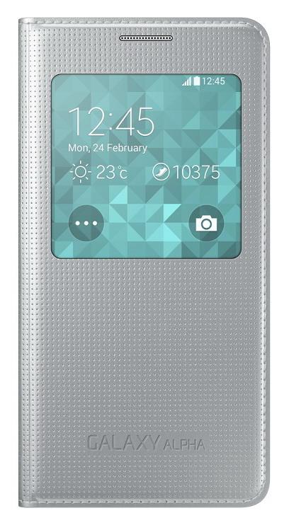Samsung flipové pouzdro S View EF-CG850B pro Samsung Galaxy Alpha (SM-G850), stříbrná