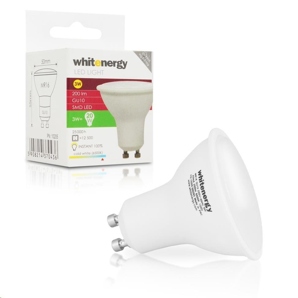 Whitenergy LED žárovka (MR16, 3W, 200 lm, studená bílá mléčná)