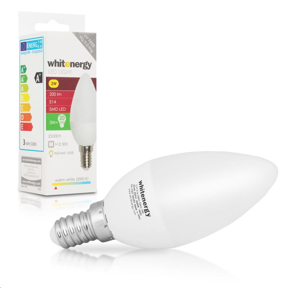 Whitenergy LED žárovka (E14, 3W, 200 lm, teplá bílá mléčná)