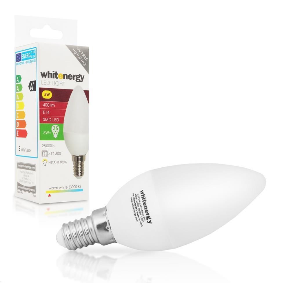 Whitenergy LED žárovka (E14, 5W, 400 lm, teplá bílá mléčná)
