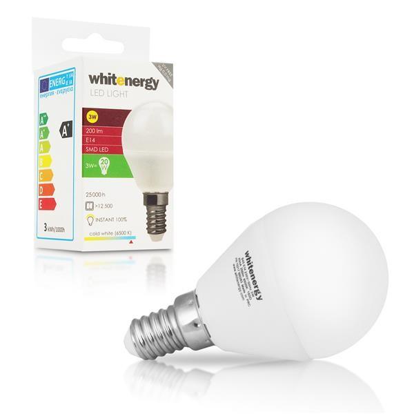 Whitenergy LED žárovka (E14, 3W, 200 lm, studená bílá mléčná)