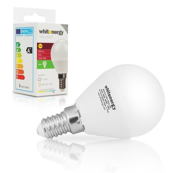 Whitenergy LED žárovka (E14, 5W, 400 lm, studená bílá mléčná)