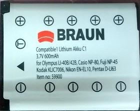 Braun fotoakumulátor Li-Ion 3,7V/600mAh (C1), typ Olympus Li-40B/Li-42B
