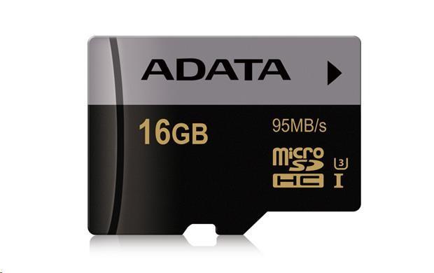 ADATA Micro SDHC karta Premier Pro 16GB UHS-I U3, (R:95MB)