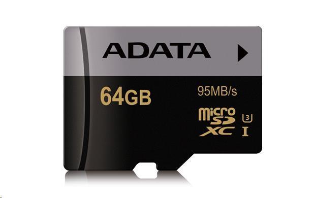 ADATA Micro SDXC karta Premier Pro 64GB UHS-I U3, (R:95MB)