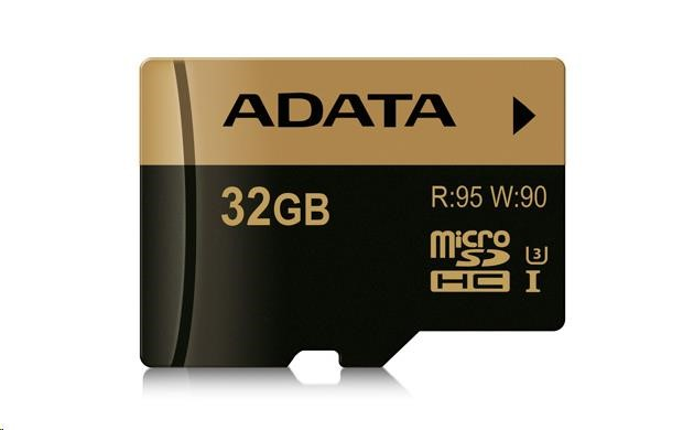 ADATA Micro SDHC karta XPG 32GB UHS-I U3 + SD adaptér, (R: 95MB / W: 90MB)