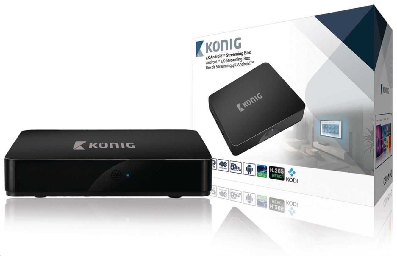 KÖNIG 4K streamovací box se systémem Android™, 4K, 3D, 5G, Wi-Fi - KN-4KASB