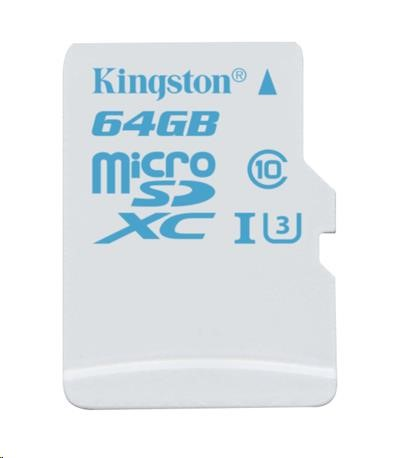 Kingston 64GB Micro SecureDigital (SDHC) Card, UHS-I U3, 90r/45w