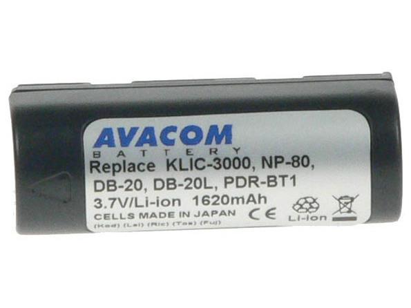 AVACOM Fujifilm NP-80, Kodak KLIC-3000, Ricoh DB-20 Li-Ion 3.7V 1620mAh 6Wh