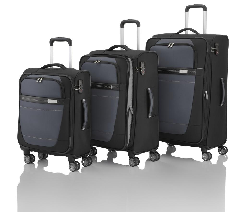 Travelite Meteor 4w S,M,L Black – sada 3 kufrů