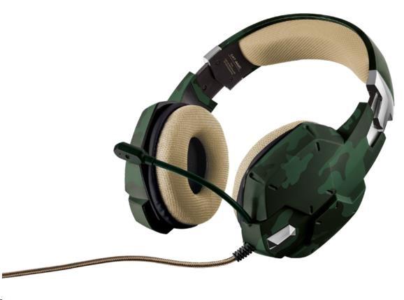 TRUST Sluchátka s mikrofonem GXGXT 322 Dynamic Headset - zelená kamufláž