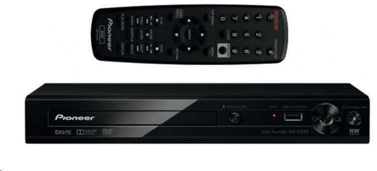 PIONEER DV-2242 DVD přehrávač, přehrává DVD±R/RW, DVD+R DL, CD-R/RW, MP3, JPEG, DivX, USB direct ripping, USB