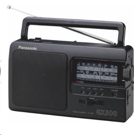 PANASONIC RF-3500E9-K FM/MW/LW/SW tuner, indikátor pro ladění, teleskopická anténa, napájení síť/baterie