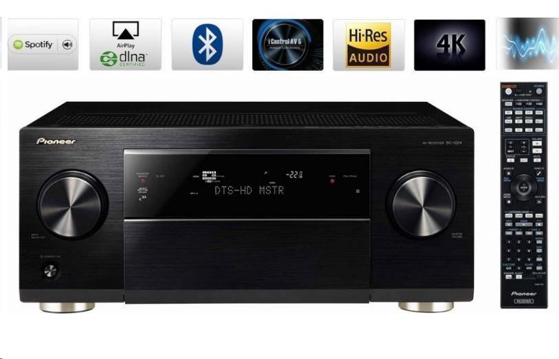 PIONEER SC-1224-K 7.2 kanálový AV přijímač řady Premium, zesilovač audiofilské kategorie ve třídě D, 560 W, 7/2 HDMI