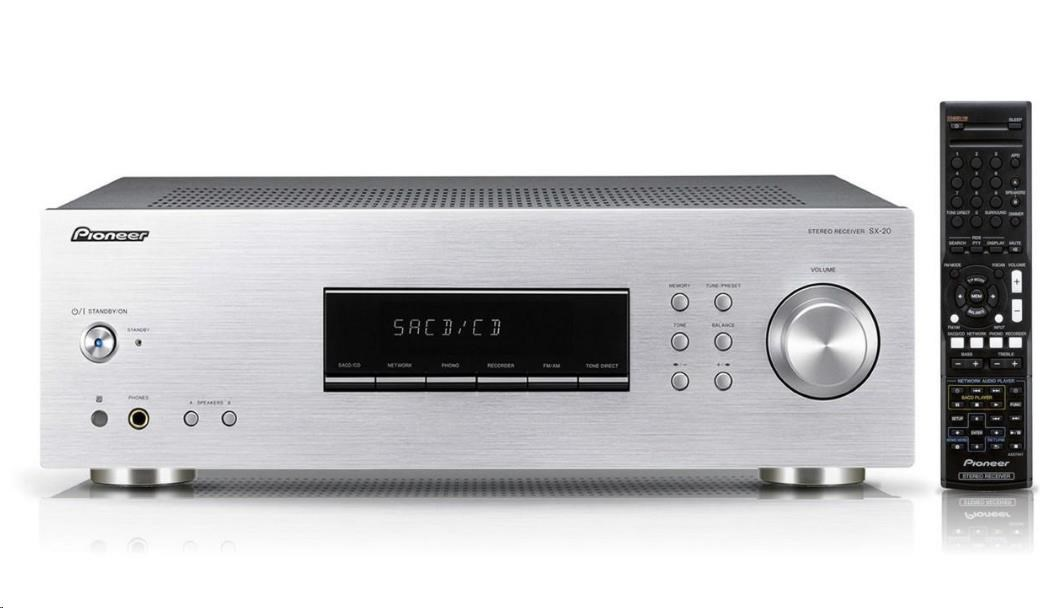PIONEER SX-20-S stereofonní integrovaný přijímač, výkon 2x100W, FM RDS / AM tuner, MM přenoskový předzesilovač