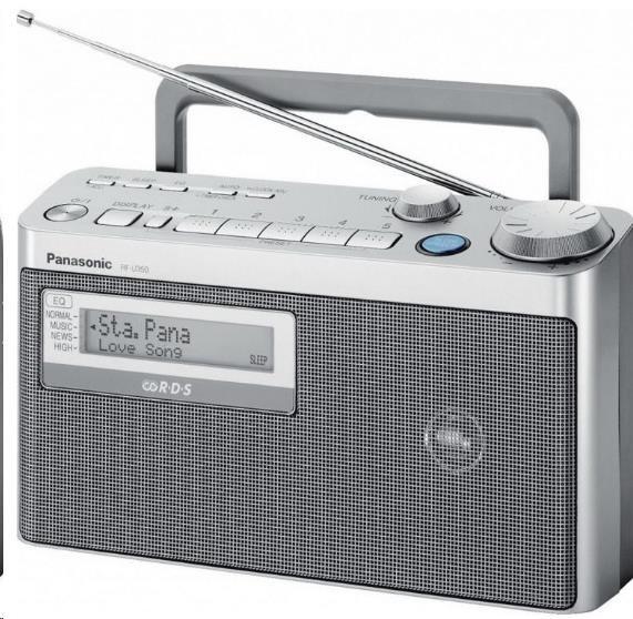 PANASONIC RF-U350EG-S veliký reproduktor 10cm,funkce zvýraznění mluveného slova,snadná obsluha,provoz na síť/ baterie