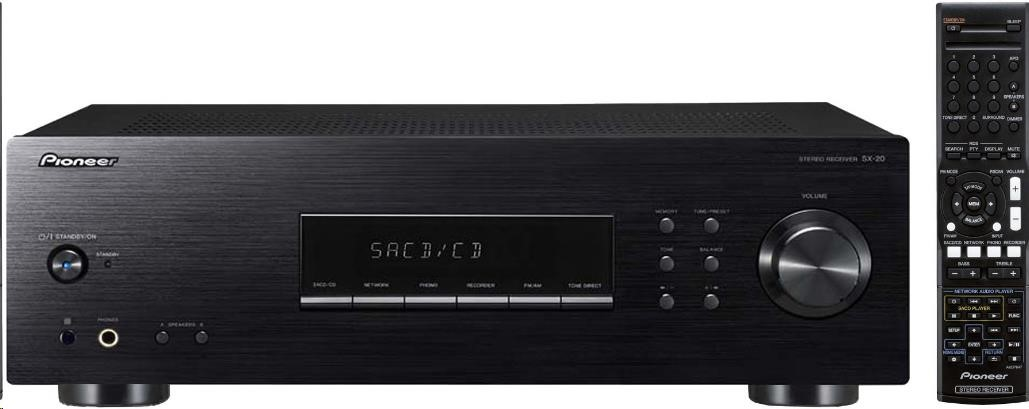 PIONEER SX-20DAB-K Stereofonní integrovaný přijímač, výkon 2x100W, FM RDS / AM / DAB+ tuner, MM přenoskový předzesilovač