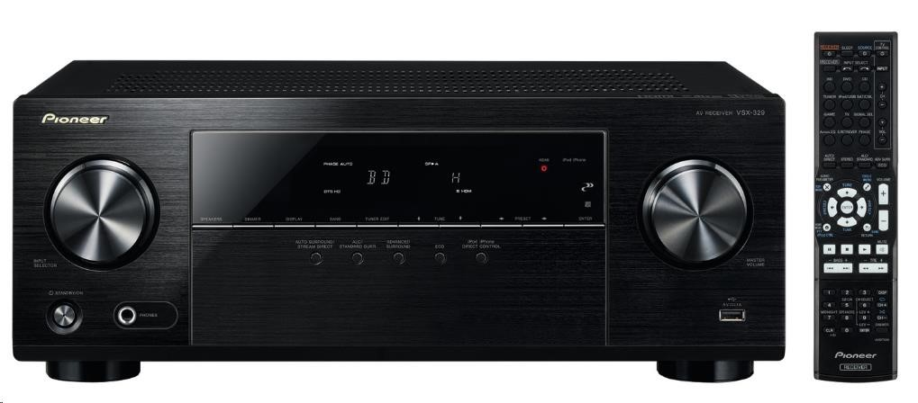 PIONEER VSX-329-K 5x 105W, 3D Ready, 4K Pass through, MP3/WMA/AAC playback, 192 kHz/24-bit DAC, HDMI 2.0, HDMI