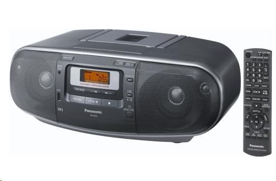 PANASONIC RX-D55AEG-K Radiomagnetofon s CD a kazetovou mechanikou, celkový výkon 2 x 10 W