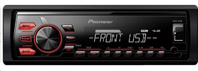 PIONEER MVH-07UB výkon 4x50W, USB, přehrává MP3, WMA, WAV, ID3 Tag, WMA Tag, FM/MW tuner, RDS, Line in, 1x RCA pre out