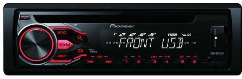 PIONEER DEH-1800UBA Autorádio s CD a čelním vstupem AUX a USB, přehrává MP3,WMA,WAV,FLAC, 5-ti pásmový grafický ekvalizé