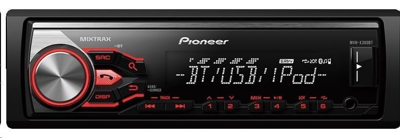 PIONEER MVH-X380BT Autorádio s Bluetooth, čelním vstupem AUX a USB, AOA 2.0, 5-ti pás. graf. ekv. ,RCA, výkon 4x50W