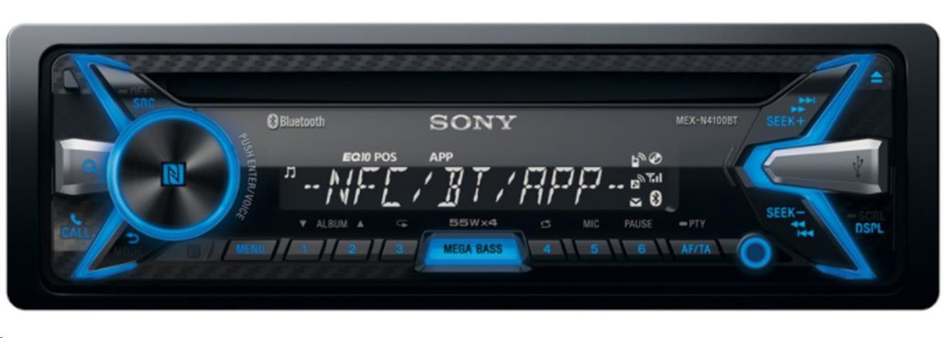 SONY MEXN4100BT Bluetooth autorádio s CD/MP3 přehrávačem, USB a AUX, výkon 4x55W, NFC, BT hands free, vestavěný mikrofon