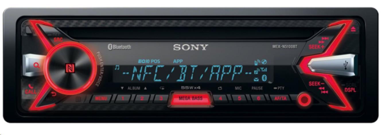 SONY MEXN5100BT Bluetooth autorádio s CD/MP3 přehrávačem, vstup USB, AUX, výkon 4x55W, NFC, hands free, ext mikrofon
