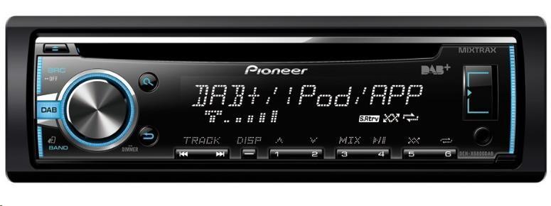 PIONEER DEH-X6800DAB Autorádio s FM a DAB+ tunerem, čelní vstupy AUX a USB, vstup pro kabelové DO z volantu.