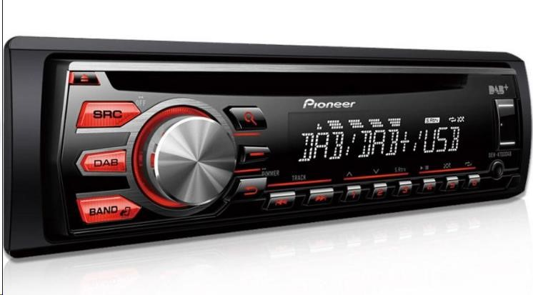 PIONEER DEH-4700DAB, 4x50W, MOSFET, CD text, FM/MW/DAB tuner, RDS, front USB, Line in, Media App Control,RCA pre out