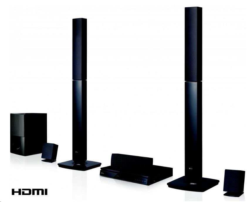 LG LHD645 5.1 DVD domácí kino, přehrává DVD±R/RW, CD-R/RW, MP3, WMA, JPEG, DivX, FM tuner, 5x160W+167W subw, USB, HDMI