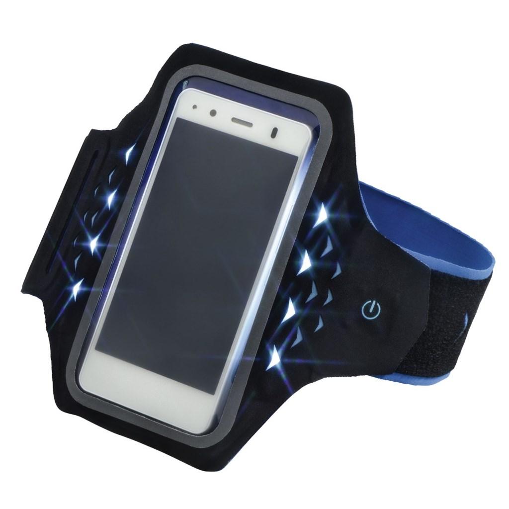 Hama Active sportovní pouzdro na rameno s LED, velikost XXL, černé/modré