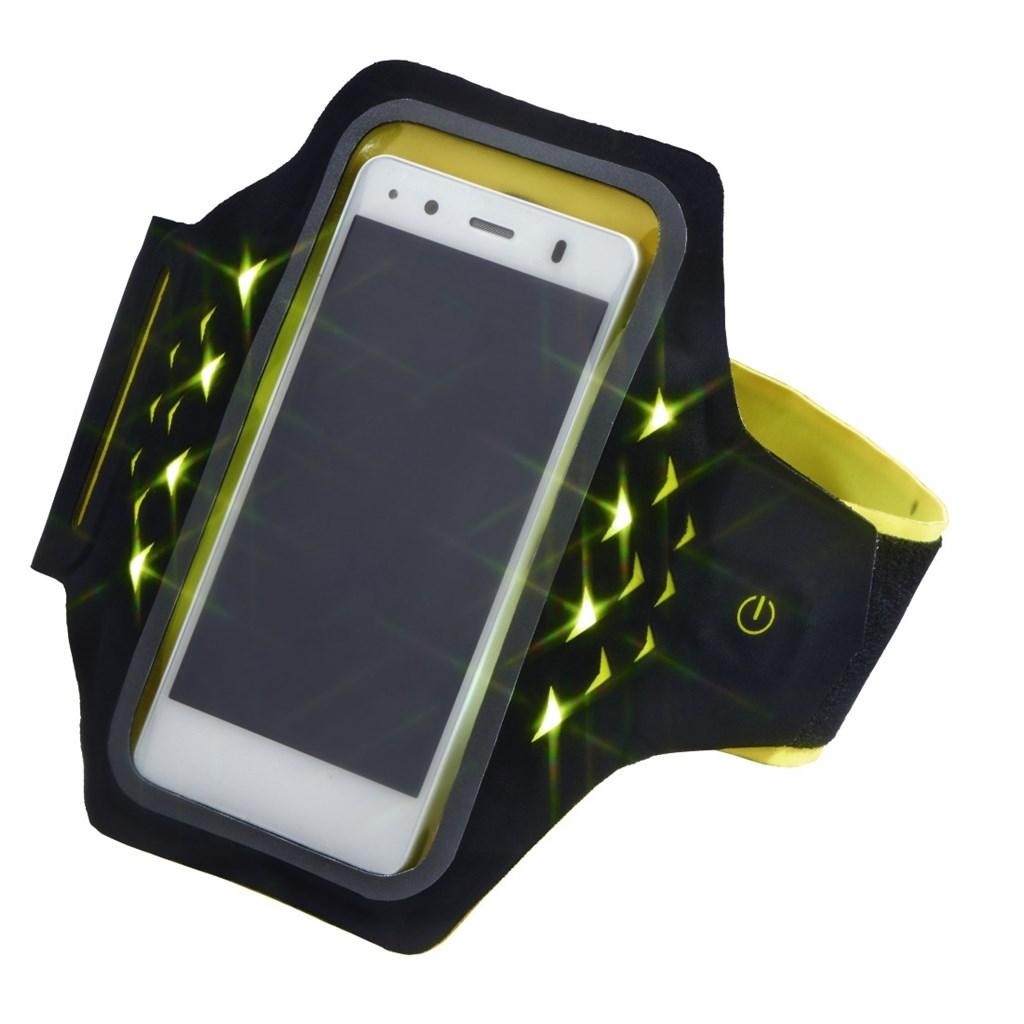 Hama Active sportovní pouzdro na rameno s LED, velikost XXL, černé/žluté