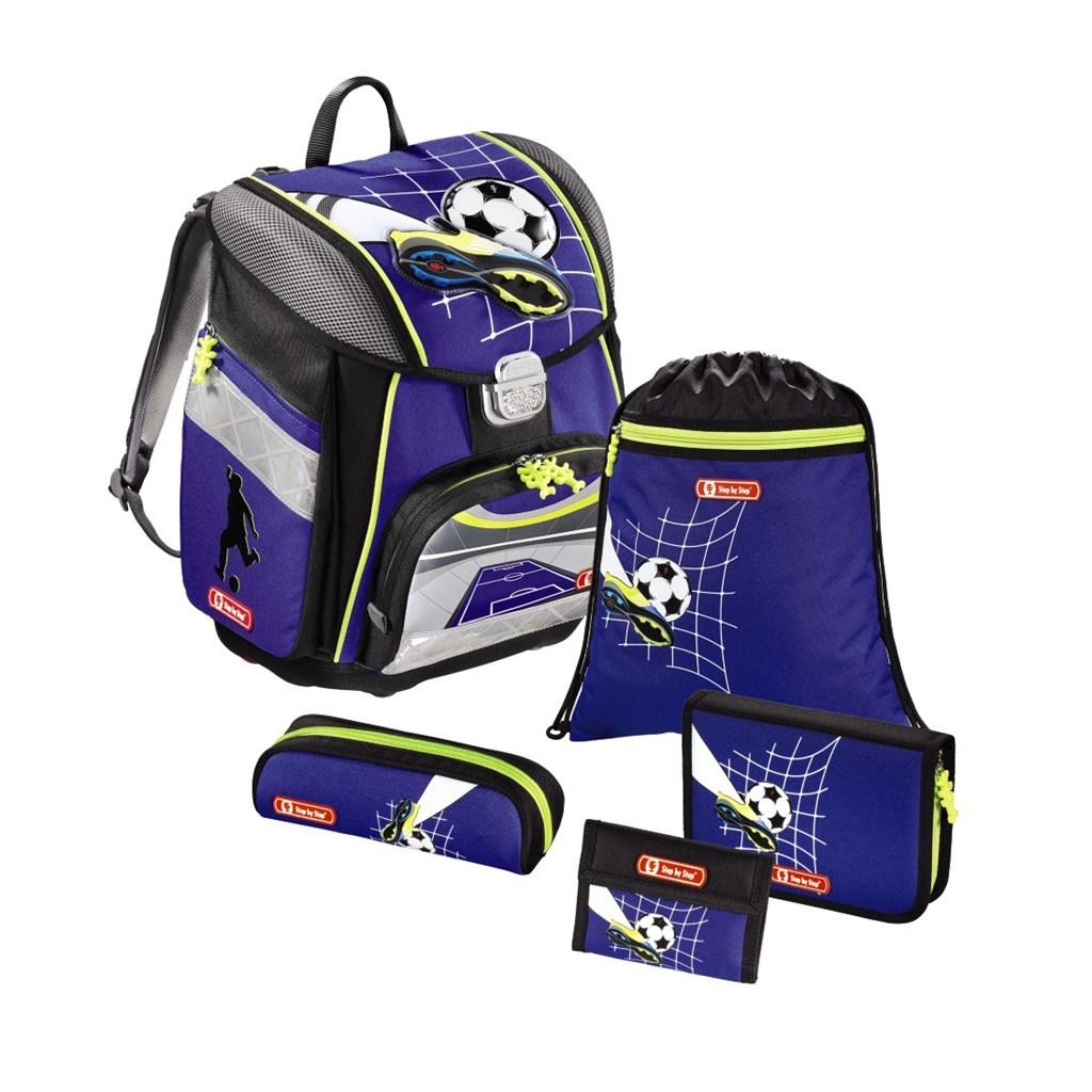 Školní aktovka pro prvňáčky - 5-dílný set, Step by Step Fotbal, certifikát AGR