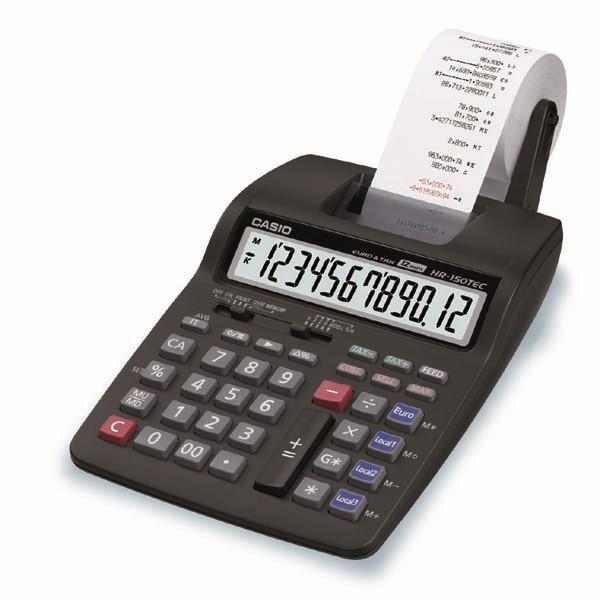 CASIO kalkulačka HR 150 TEC, černá, přenosná stolní kalkulačka s tiskem,dvanáctimístná