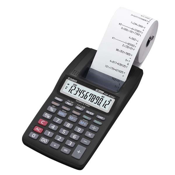 CASIO kalkulačka HR 8TEC, černá, přenosná stolní kalkulačka s tiskem,dvanáctimístná